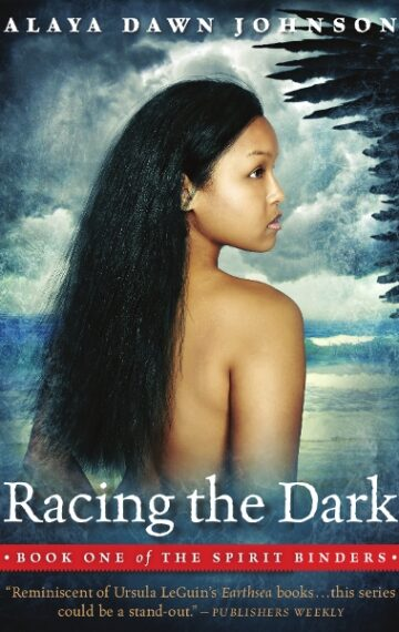 Cover of Racing the Dark featuring the back of a young girl looking over her shoulder at the edge of a large black wing