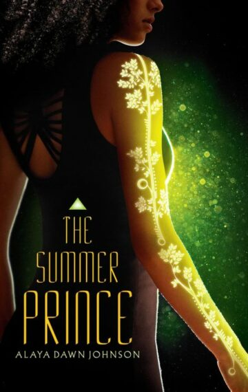 The cover of The Summer Prince featuring the back of a girl with her arm covered in a light tattoo
