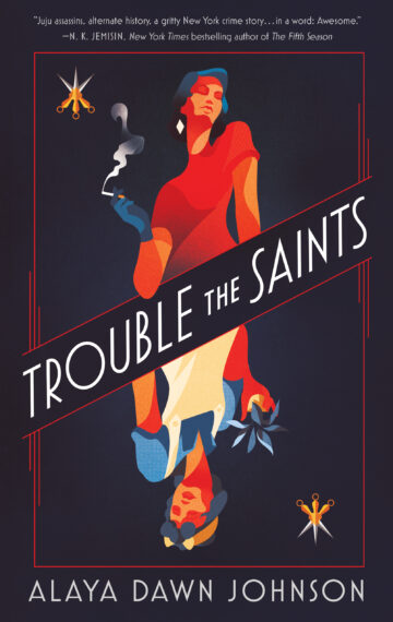 Cover for Trouble the Saints with two women mirrored like on a playing card